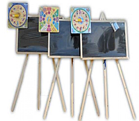 Доска для  рисования на 3- ноге  70*45 см  односторонняя с часами или  счетами
