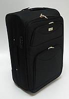 Чемодан дорожный на колесах, тканевый, черный, среднего размера 60 см.