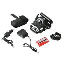 Аккумуляторный Налобный фонарик Police  04-2T6, zoom, Power Bank, велокрепление, 2 ак.18650