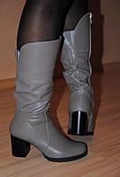 Кожаные женские сапоги, сезон осень, зима