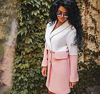 Стильное пальто- накидка из букле цвет молочный с розовым, фото 1