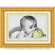 """Набор алмазной живописи (квадратные камни, полная) """"Вкуснятина (малыш с яблоком)"""""""