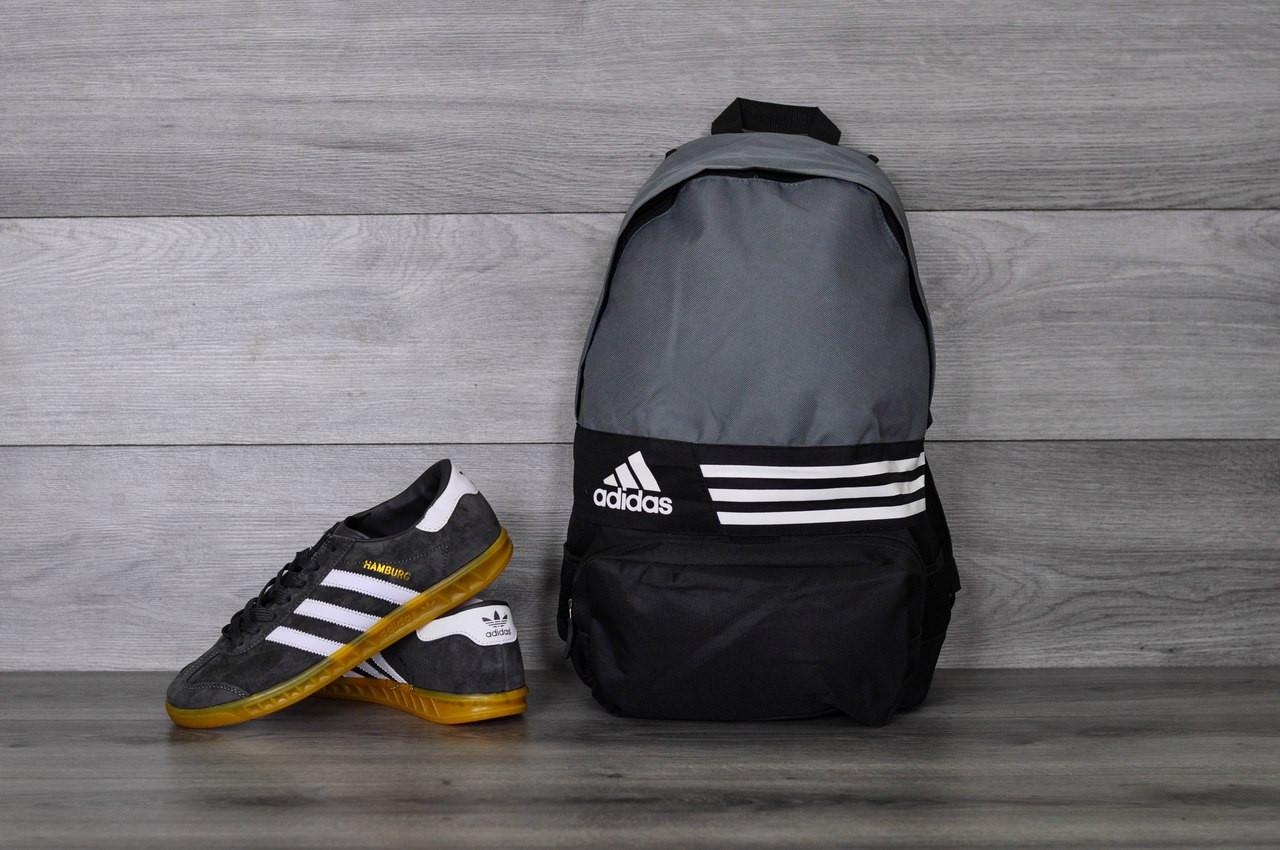 Рюкзак Adidas серо-черный, спортивный, городской, для школы