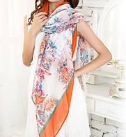 Стильный легкий женский шарф с принтом оранжевого цвета