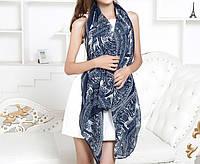 Стильный легкий женский шарф с принтом синего цвета
