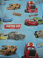 """Бязь с разноцветными машинками """"Piston cup"""" на голубом фоне, фото 1"""