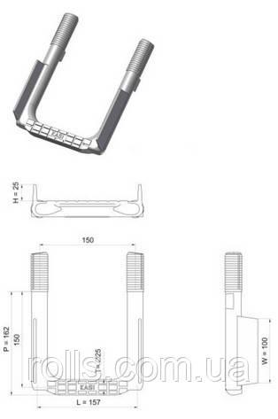 SDDS Скоба ходовая опорная 162*150мм анти скользкая для колодцев, сталь 3ПС футерованая пластиком (Чехия)