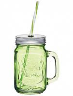 Чашка стеклянная с крышкой и трубочкой Зелёная