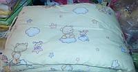 Защита для детской кроватки Бежевая Мишки на облаках