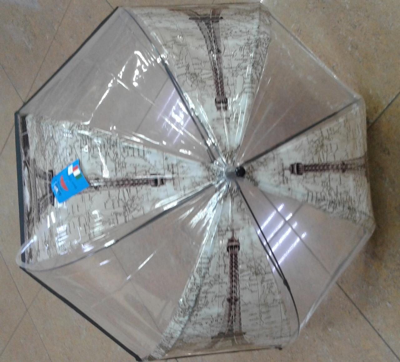 Зонт трость прозрачная с принтом Эйфелевой  башни и карты