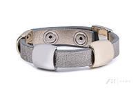 Женский кожаный браслет на руку серебристого цвета. Модель BYZ116012 Zaps.