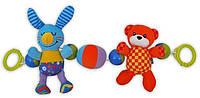 Погремушка на коляску плюшевая Baby Mix EF-TE-8165-B (Кролик и мишка)