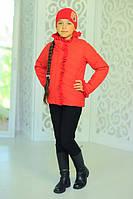 Куртка «Одри», красная+шапка