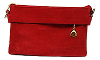Сумка-клатч женская красная замша со змейкой