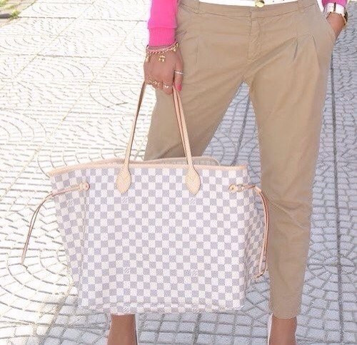 Сумка Louis Vuitton Neverfull Medium,средняя,кремовая в клетку