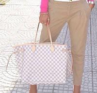 Сумка Louis Vuitton Neverfull Medium,средняя,кремовая в клетку, фото 1