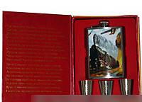 Стильные подарки Фляга TZ15-1 Подарочные наборы для мужчин Походная фляга Фляга+3 рюмки Набор подарочный фляга
