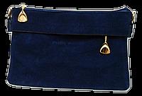 Сумка-клатч женская синяя замша со змейкой