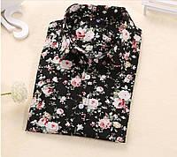 Чёрная рубашка с цветами