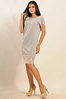 Элегантное женское платье | серый меланж (р.42-52)