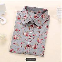 Серая рубашка с цветами