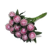 Ягоды Розовые на проволоке 10 мм пучок 6 шт/уп