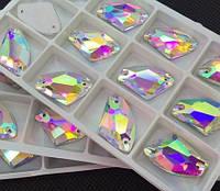 Стразы пришивные Галактик (топорики) 12*19 мм Crystal AB, стекло