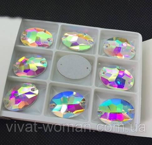 Стразы пришивные Овал 13*18 мм Crystal AB, стекло
