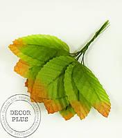 Листочки для декора 5см зеленый с каемочкой