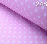 Ткань крупный белый горошек на розовом фоне(№248)