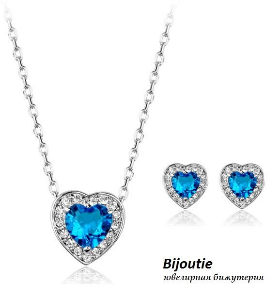 Комплект BLUE HEART ювелирная бижутерия платина декор кристаллы Swarovski