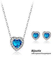 Комплект BLUE HEART ювелірна біжутерія платина декор кристали Swarovski