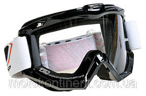 Мотоочки PROGRIP Маска / очки кроссовые Черного цвета RACE LINE (CLEAR LENS) PG 3201