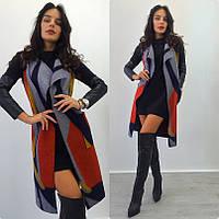 Пальто женское без рукавов ниже колен - Темно-синий