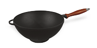 WOK сковорода чугунная с деревянной ручкой диаметром 260 мм, высотой 80 мм