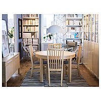 IKEA БЬЮРСТА Круглый раздвижной стол, березовый шпон : 40116777, 401.167.77