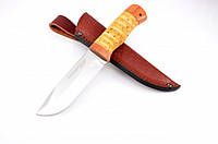 Нож охотничий из рукояти Береста с кожаным чехлом + эксклюзивные фото, тактический нож, рыбацкий нож