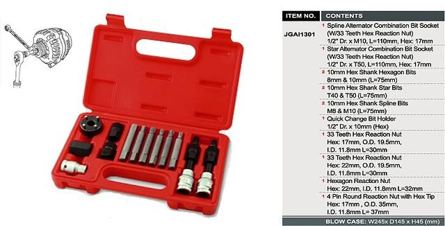 Набор для снятия шкивов генераторов 13ед. TOPTUL JGAI1301