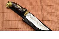 Нож охотничий Волк ручная работа, производство Украина + кожаный чехол и паспорт, охотничий нож, рыбацкий