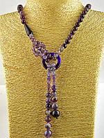 029957 Бусы из аметиста, бусы из натурального камня аметист 58 см. с кисточкой