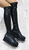 Сапоги-чулки кожаные демисезонные на платформе, черные