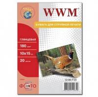 Фотобумага WWM, глянцевая 180 г, 100х150 мм, 20 л