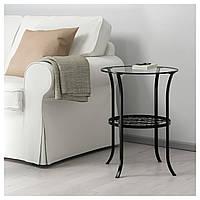 IKEA КЛИНГСБУ Придиванный столик, черный, прозрачное стекло : 20128564, 201.285.64
