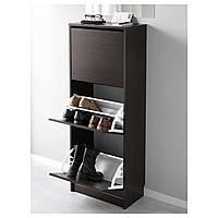 IKEA БИССА Галошница, шкафчик для обуви с тремя отделениями, коричневая : 50248428, 502.484.28