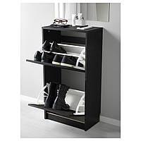 IKEA БИССА Галошница, тумбочка под обувь, коричневая : 90248426, 902.484.26