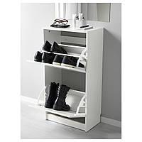 IKEA БИССА Галошница, тумбочка под обувь, белая : 50242737, 502.427.37