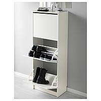 IKEA БИССА Галошница, шкафчик для обуви с тремя отделениями, белый  : 10242739, 102.427.39