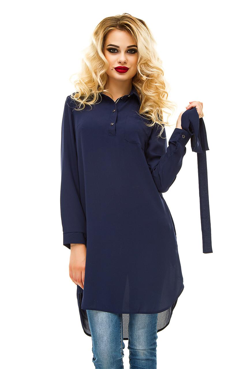 Платье- рубашка 231 креп-шифон темно-синяя