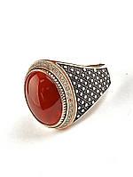 Перстень с овальным камнем сердоликом 19 размера, артикул 029402
