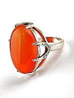 Кольцо с сердоликом. 029444 Кольцо 18 размера с натуральным камнем Сердолик (покрытие серебро), овальная форма 25х20 мм, оранжевый